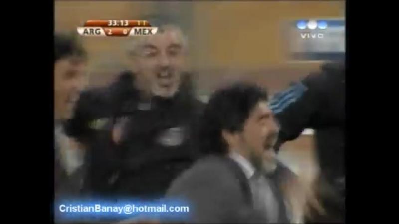Argentina 3 Mexico 1 Mundial Sudafrica 2010 Los goles Relato Sebastian Vignolo