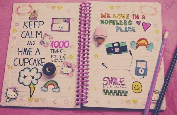 Как украсить личный дневник своими руками внутри видео