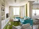 Гостиная с сочным ярко-зеленым ковром, прям как травка)