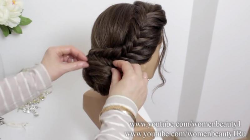 Braided Bun Hairstyle. Easy Updo Tutorial For Medium Long Hair