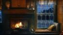 Rain on Wooden Cabin - Fireplace, Rain, Thunder Wind Sounds, Sleep, Relax