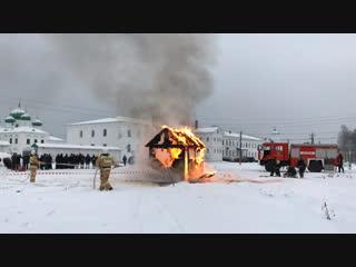 Пожарные учения в Александро-Свирском монастыре