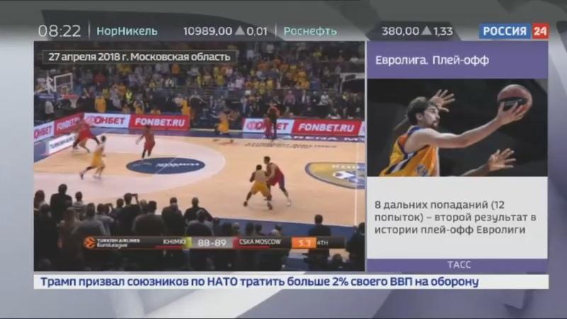 Новости на Россия 24 • Баскетбольный ЦСКА прошел в финал Евролиги, обыграв Химки на последних секундах матча