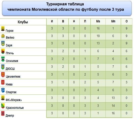 Турнирная таблица чемпионата Могилевской области по футболу. ФК Горки.