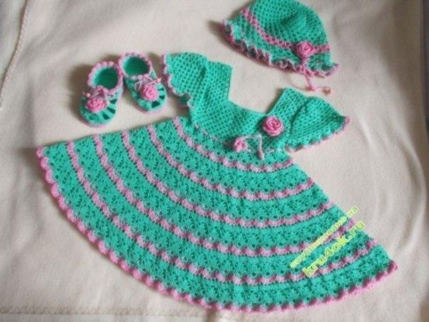 Платье, шапочка и пинетки для девочки крючком… (4 фото) - картинка