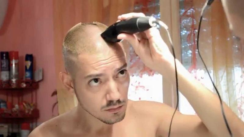 Self-made haircut: bald