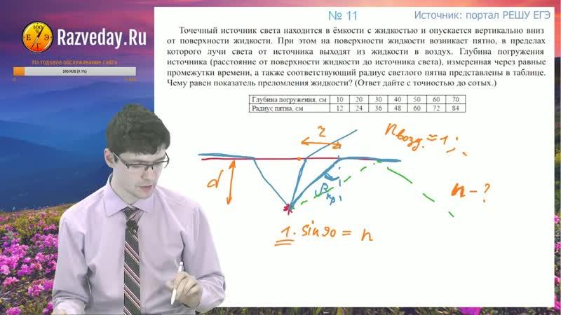 18.15. Отражение и преломление света. Задача 10. ЕГЭ по физике.