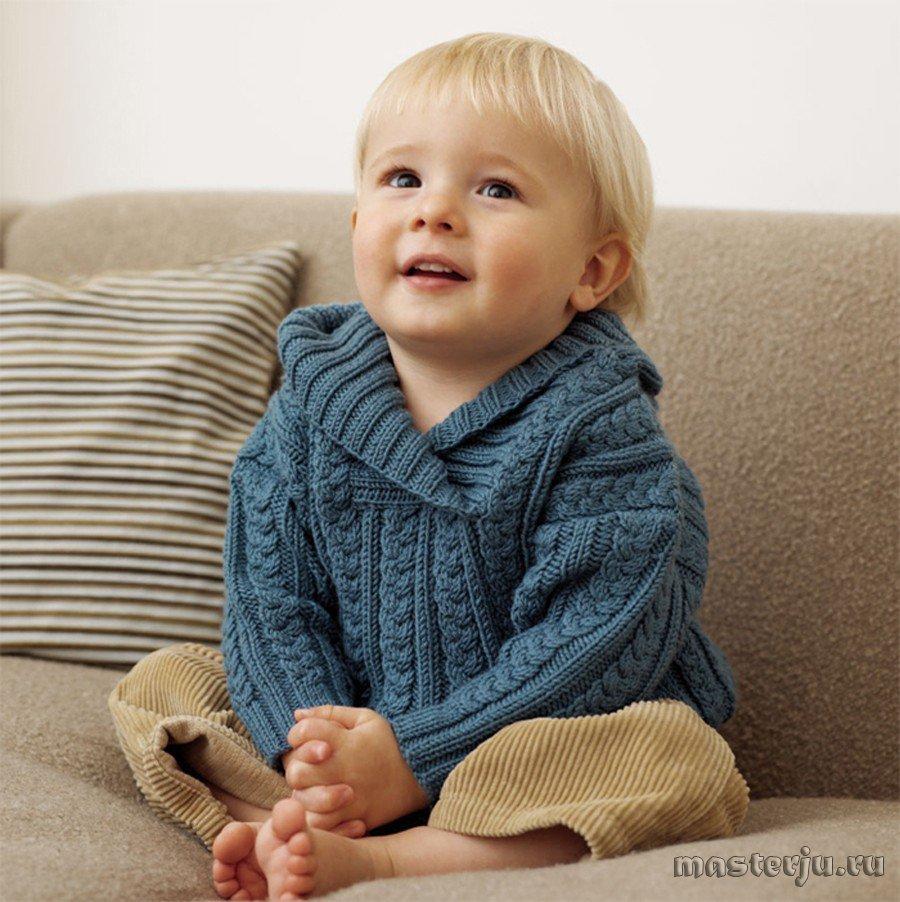 пуловер с косами для мальчика, вязаный спицами