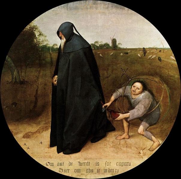 Картина Питера Брейгеля Старшего «Мизантроп», 1568 г. «Так как мир столь коварен, я иду в траурных одеждах» Эта картина одна из последних картин художника Питера Брейгеля. На протяжении всего