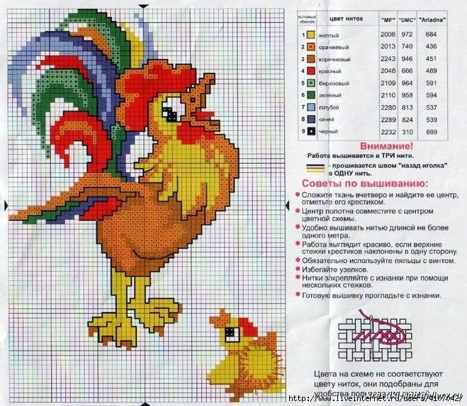 公鸡。刺绣和编织的图案 - maomao - 我随心动