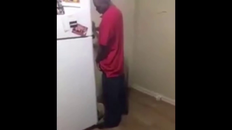 Drunk guy gets beat up by refrigerator