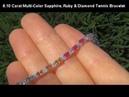 ESTATE 8.10 Carat Rainbow Sapphire, Ruby Diamond Tennis Bracelet Solid 14K
