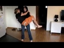 Girl cradles her BF