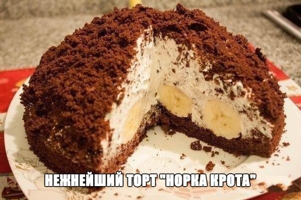 """НЕЖНЫЙ ТОРТ """"НОРКА КРОТА"""" 😋 Вкусно, быстро, легко!!! Для любителей бананов 🍌 Вам потребуется: ✔ 0,5 банки сгущенки; ✔ 1 стакан сахара; Смотреть рецепт пoлнocтью.. ⏩"""