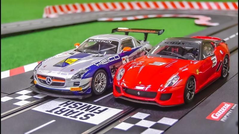 Carrera slotcar Racetrack gets unboxed! Mercedes SLS! Ferrari 599XX!