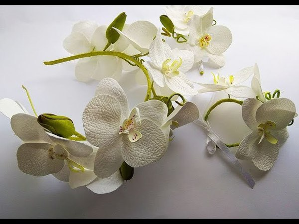 Венок с орхидеями из фоамирана мастер класс