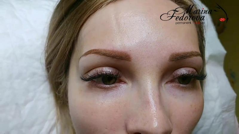 Перманентный макияж бровей ДО/И сразу после процедуры