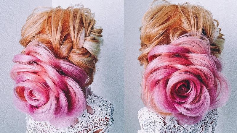 Свадебная/Вечерняя Прическа на Длинные Волосы. РОЗА из волос. Flower Bun. Hairstyle For Long Hair
