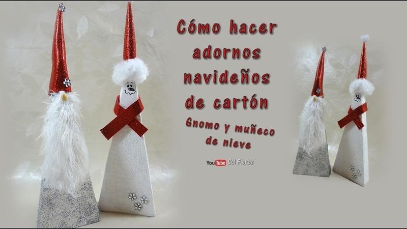 Cómo hacer adornos navideños de cartón Gnomo y muñeco de nieve