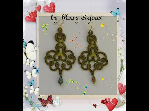 Orecchini chiacchierino ad ago Giada /Needle tatting Earrings Giada with surtitles