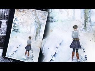 Winter.New Year 2017 girl runs. watercolor tutorial/Акварель Зима. девочка бежит