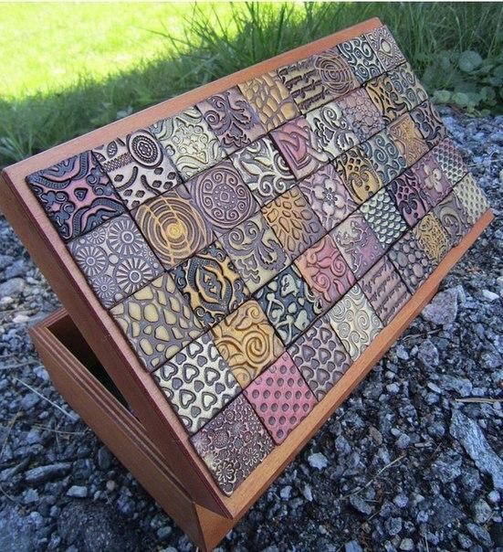 Декор коробочки полимерной глиной (7 фото) - картинка