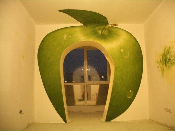 Роспись стен детской комнаты яблоко