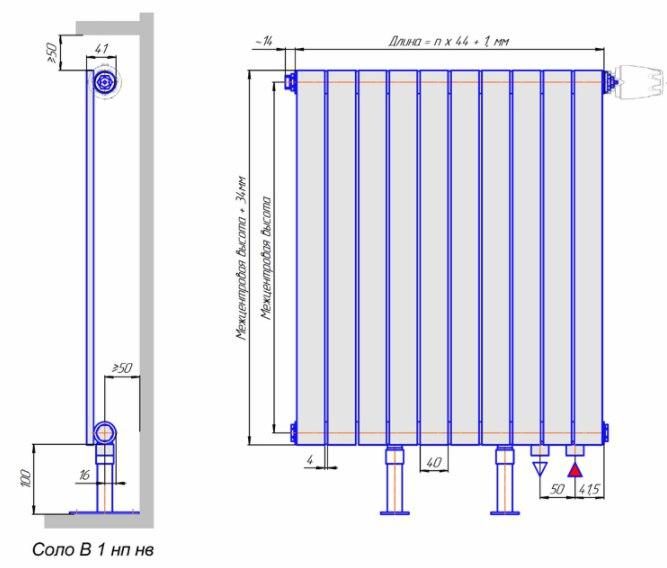 Схема КЗТО радиатор Соло В1, нижнее подключение, напольное исполнение