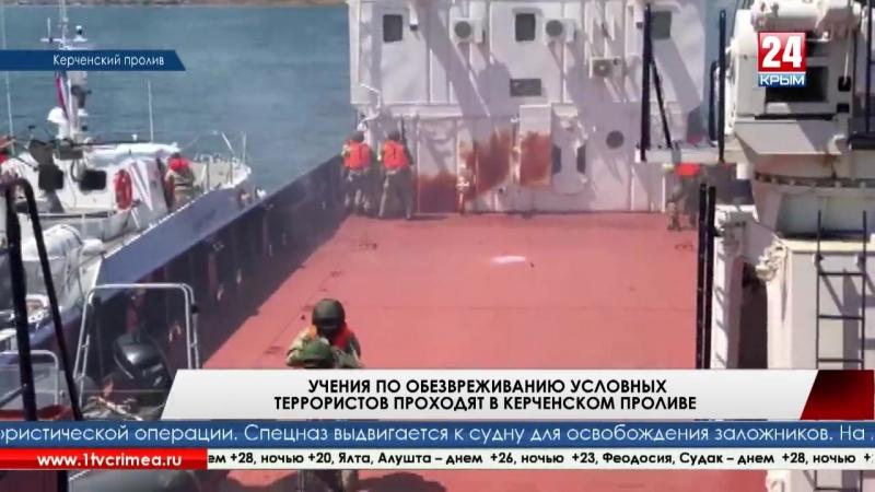 Антипиратская профилактика. Учения по обезвреживанию террористов, захвативших гражданское судно, проходят в Керченском проливе