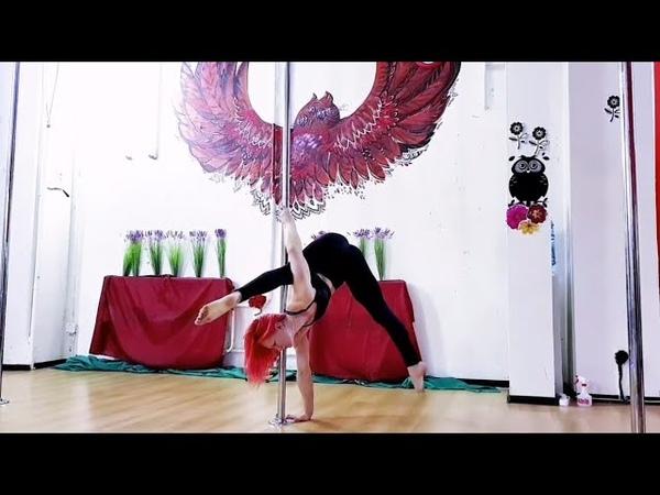 _SoVa_ Перехват из шпагатной стойки в локтовой бланш 194 Pole Dance Sport