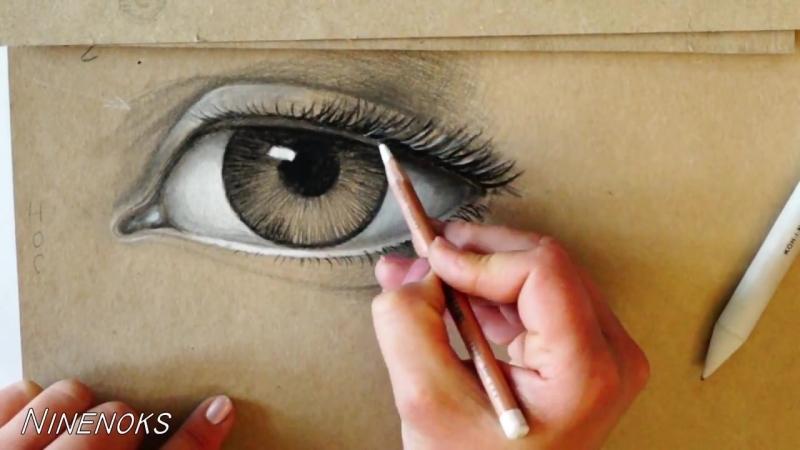 Как нарисовать глаз углем и карандашом.Обучающий урок. Основы построения глаз. Часть 2