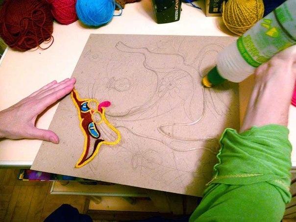 рисунки нитками: