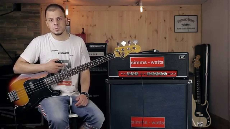 Simms Watts AP100 with matching 4x12 demo on Bass Guitar