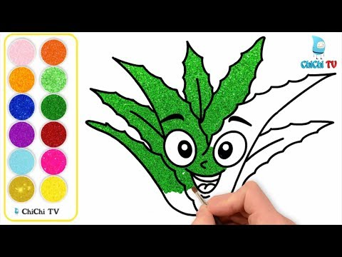 How To Draw Aloe Vera Color Glitter with Colored markers | Glitter Aloe Vera Coloring Pages