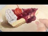 пирожное акриловыми красками с применением мертвого слоя ,видеотуториал