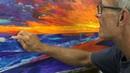 Sunset painting- artist Michael Pintar. Palette knives galore