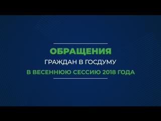 Обращения граждан в Госдуму в весеннюю сессию 2018 года