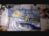 4 Зимний пейзаж гуашью с водяной мельницей и оленем. ДАВАЙТЕ РИСОВАТЬ ВМЕСТЕ