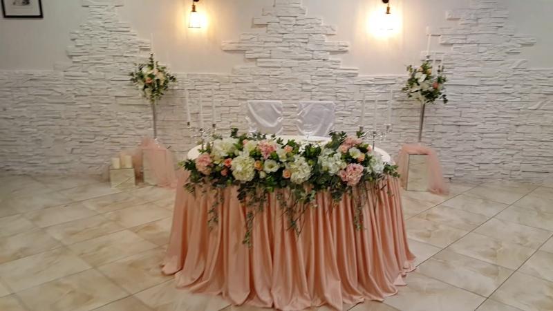 Оформление свадебного торжества в пудровых оттенках .