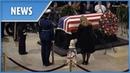President George H.W. Bush's service dog Sully visits his casket