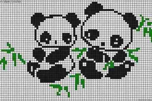 по клеточкам) с пандами.
