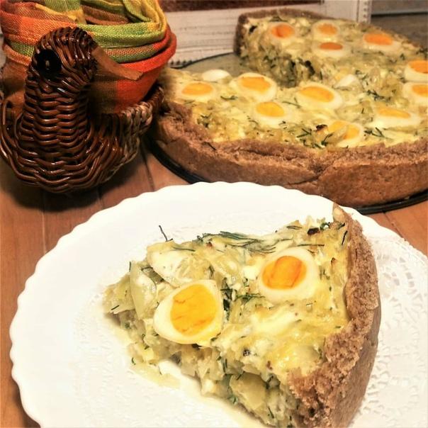 КИШ С КАПУСТОЙ И ЯЙЦОМ <strong>Ингредиенты:</strong>Начинка: капуста белокочанная 500 г, сыр твердый 50 г, укроп 1 пучок, яйца перепелиные 10 шт., оливковое масло 2 ст. л., соль по вкусу.Заливка: сливки 20% 100″/></div> <p><strong>Ингредиенты:</strong></p><div> <div id=