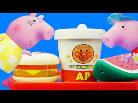 Peppa Pig Family Peggy Pink Pig Goes to Bread Superman Burger Shop to Eat Things Childrens Story