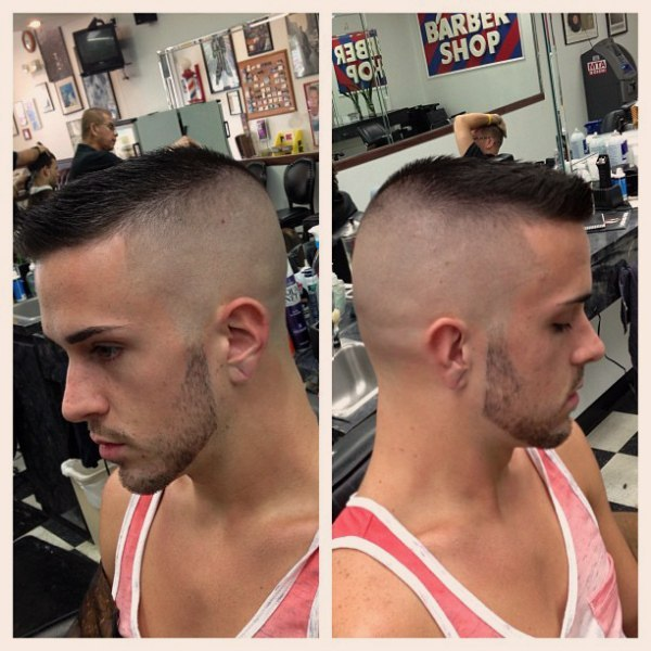 Tapered haircut with bangs