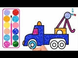 Truck Car Cartoon Drawing and Coloring with Glitters, Glitters Truck Car coloring pages for kids
