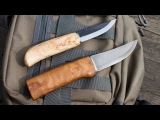 Two Finnish Puukko Knives by Heimo Roselli: Carpenter Knife and UHC Hunting Knife