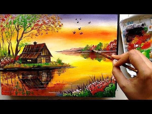Beautiful Riverside Scenery Painting | Acrylic Painting Tutorial