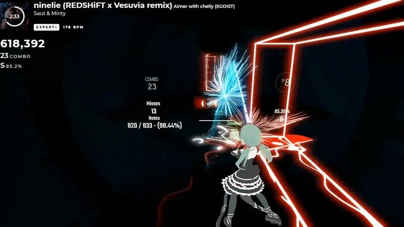 [Beat Saber] Ninelie (REDSHiFT x Vesuvia remix) - 1403/1424 - Rank S (85.3%)