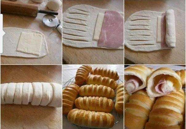 Слоеное тесто, ветчина и сыр