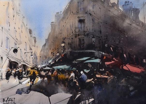 Художник Альваро Кастаньет путешествует по миру, чтобы запечатлеть динамичную энергию разных городов в выразительных акварельных картинах